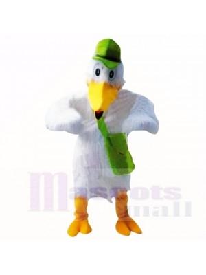 Cigogne avec des costumes de mascotte chapeau vert