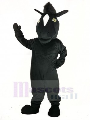 Noir Mustang Cheval Mascotte Costume Animal