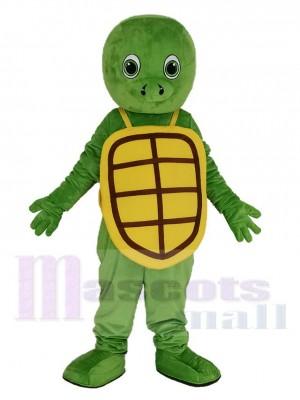 Heureux Vert Tortue avec Jaune Coquille Mascotte Costume