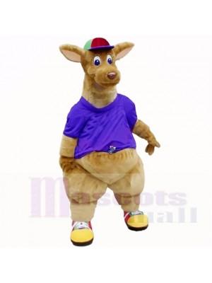 Kangourou de qualité supérieure avec une chemise violette Costumes de mascotte adulte
