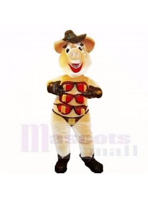 Stripper Pig avec un chapeau brun et des costumes de mascotte