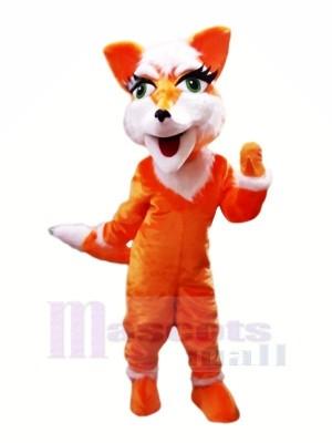 Orange Renard avec Gros Les yeux Mascotte Les costumes Pas cher