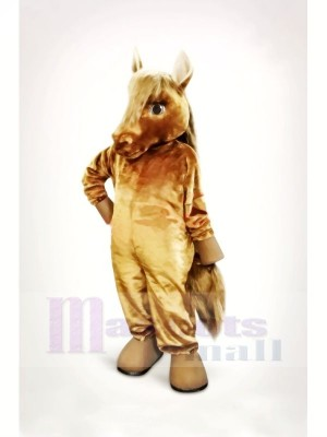 Charmant marron Cheval Mascotte Costume Dessin animé
