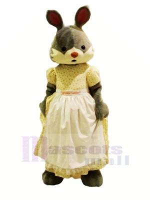 Dame lapin avec blanc Robe Mascotte Les costumes