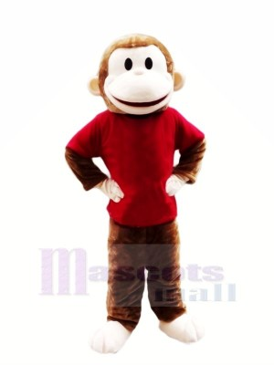 Heureux Singe avec rouge T-shirt Mascotte Les costumes Pas cher