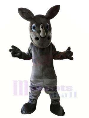 Gris Rhinocéros avec Gros Les yeux Mascotte Les costumes
