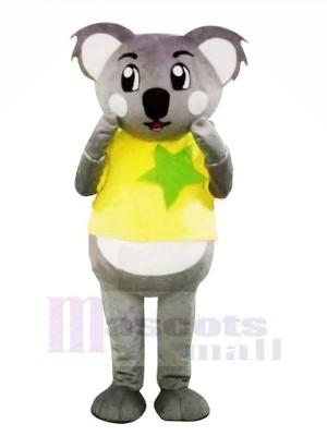 Gris Koala avec Jaune T-shirt Mascotte Les costumes Dessin animé