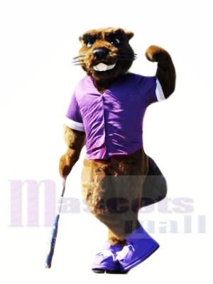 Castor avec Violet T-shirt Mascotte Les costumes Animal