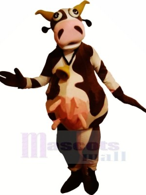 Drôle marron et blanc Vache Mascotte Les costumes Adulte