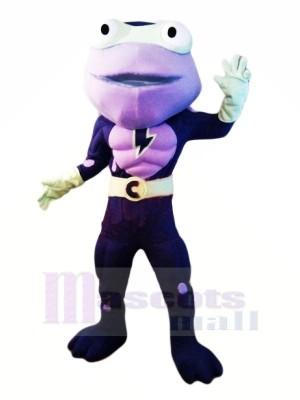 héros Violet La grenouille Mascotte Les costumes Dessin animé