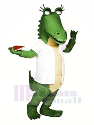 Drôle Gator avec blanc T-shirt Mascotte Les costumes Dessin animé