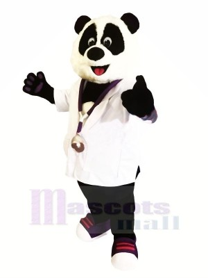 Médecin Panda avec blanc Chemise Mascotte Les costumes Animal