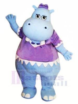 Bleu Hippopotame avec Violet T-shirt Mascotte Les costumes Pas cher