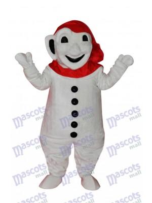 Souriant Bonhomme de neige avec du rouge Écharpe Mascotte Adulte Costume Noël