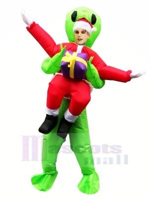 Gonflable Porter Moi Noël ET vert Extraterrestre Mascotte Les costumes Dessin animé