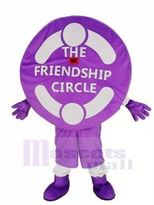 Réaliste Nouveau Amical Violet Relation amicale Cercle Mascotte Costume Dessin animé