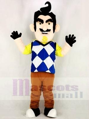 Monsieur. Peterson de Bonjour Voisin Homme Mascotte Costume Dessin animé