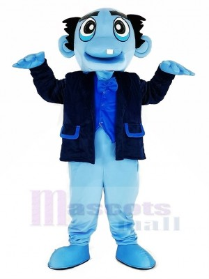 Bleu Fantôme avec Noir Manteau Mascotte Costume