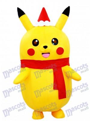 Costume de mascotte de Pokémon Pokémon de Pikachu avec le chapeau de Noël et l'écharpe rouge