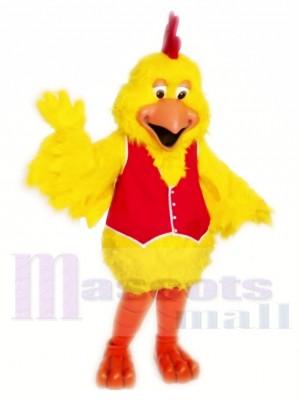 Le poulet au gilet rouge Costumes De Mascotte