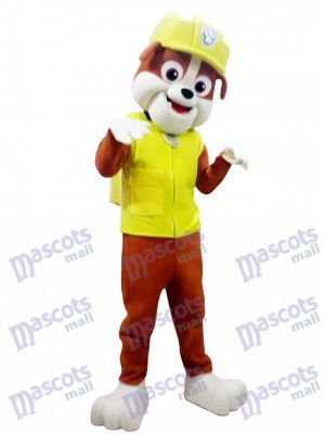 La Pat' Patrouill Paw Patrol Costume de mascotte adulte Rubble Costume de chien jaune Halloween