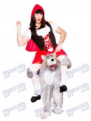 Les adultes me portent loup avec le costume de mascotte du petit chaperon rouge Déguisement Halloween Outfit