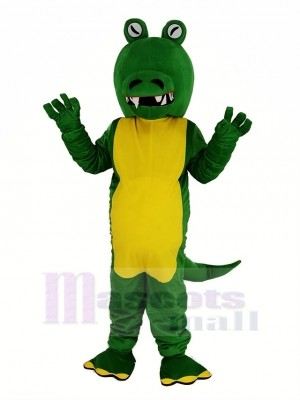 vert Crocodile Avec Gros Bouche Mascotte Costume Animal
