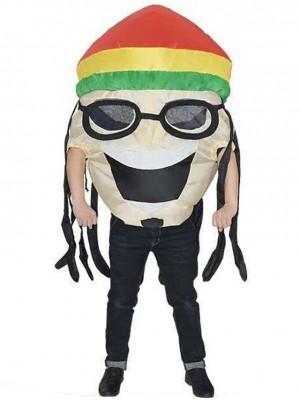 jamaïquain Chanteur Gonflable Costume Halloween Noël Fantaisie Coup en haut Costume pour Adulte blanc Peau