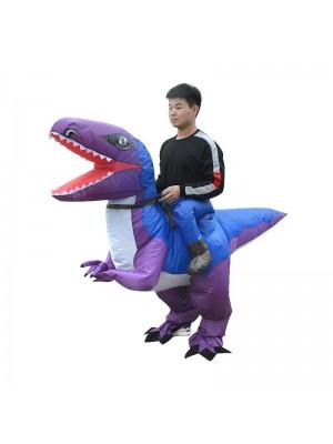 Bleu et Violet Velociraptor Dinosaure Porter moi Balade sur Gonflable Costume pour Adulte