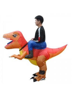 Orange et Jaune Dinosaure Porter moi Balade sur Gonflable Costume pour Adulte