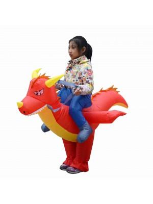 Feu Dragon Dinosaure Porter moi Balade sur Gonflable Costume Halloween Noël Costume pour Enfant