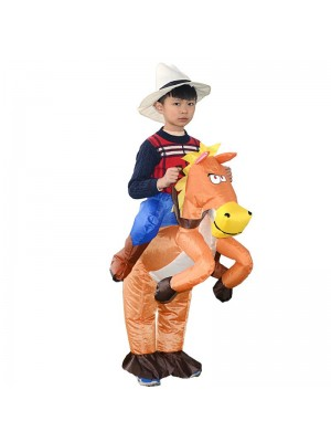 Orange Cheval Porter moi Balade sur Gonflable Costume Cow-boy Halloween Noël pour Enfant