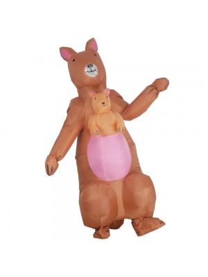 Kangourou avec Bébé Kangourou Gonflable Costume Halloween Noël Costume Pour Adulte