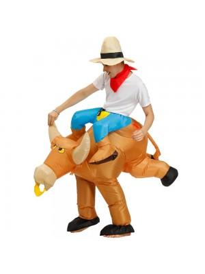 Cow-boy Porter moi Balade sur marron Taureau Gonflable Halloween Noël Costume pour Adulte/enfant