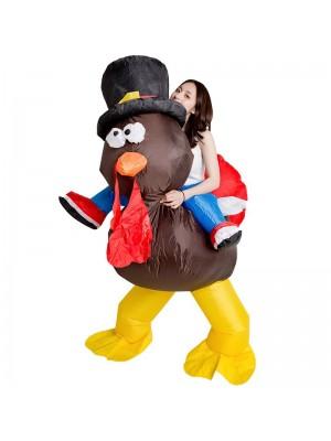 dinde avec rouge Queue Porter moi Balade sur Gonflable Costume Action de grâces journée pour Adulte