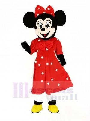 Minnie Souris dans rouge Mascotte Costume Dessin animé