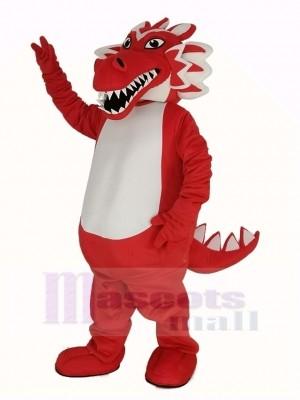 rouge Dragon Mascotte Costume Dessin animé