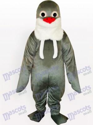 Morse gris avec barbe blanche et rouge Costume drôle de mascotte adulte