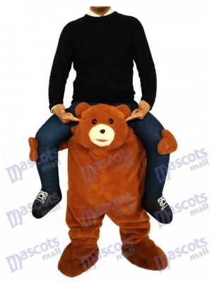 Ours brun tirelire Carry Me Ride sur costume de mascotte ours en peluche