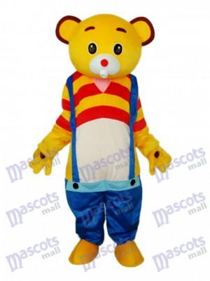 Jaune Bear Wear Bleu salopette Mascotte Costume adulte Animal