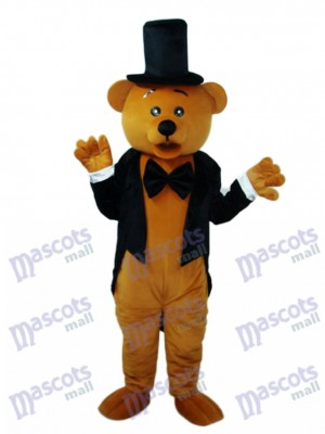 Ours en Costume Noir Mascotte Costume Adulte Animal