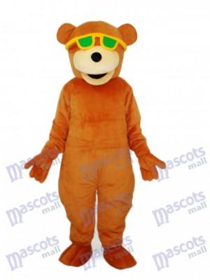 Ours avec lunettes de soleil vert mascotte costume adulte Animal