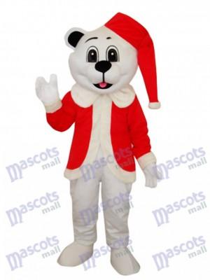 Ours blanc avec un chapeau de Santa Costume de mascotte adulte Animal