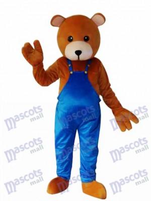 Ours en peluche en costume de mascotte bleu Mascotte adulte Costume Animal