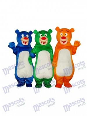 Costume de mascotte bleu et vert et orange ours de famille (trois ours) Animal