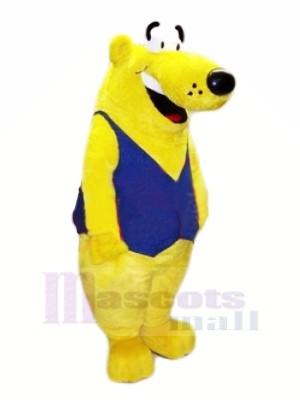 Jaune Ours avec Bleu Gilet Mascotte Les costumes Animal
