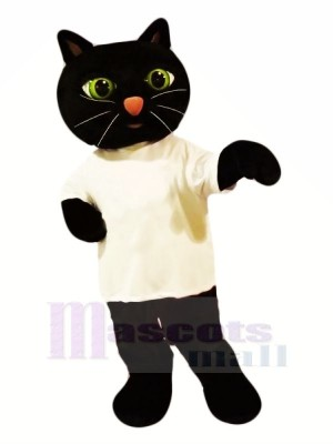 Noir Chat avec blanc T-shirt Mascotte Les costumes Animal