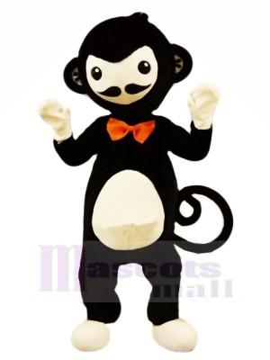 Noir Singe avec rouge Arc Mascotte Les costumes Animal