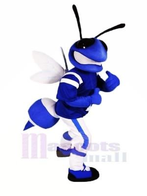 Bleu abeille avec blanc Ailes Mascotte Les costumes Animal