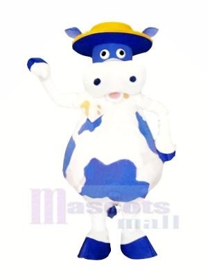Mignonne Bleu et blanc Vache Mascotte Les costumes Animal